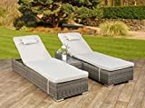 Garden Rattan Furniture Premium Weave Miami 3PC Sun Lounger Recliner Set with Side Table and Outdoor Covers in Truffle