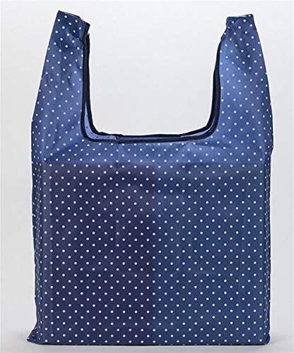 Portable Kids Toys Organizer Oxford Cloth Foldable Shopping Bag Portable Supermarket Shopping Bag Oxford Cloth Tote Bag Toy Storage Bag_Dark Blue Dots