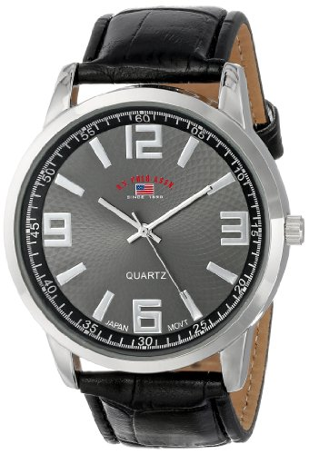 U.S. Polo Assn. Classic Men's US5165 Black Dial Black Crocodile Strap Watch