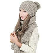 Amazon Lightning Deal 95% claimed: Women Fashion Winter Warm Knitted Scarf and Hat Set Skullcaps