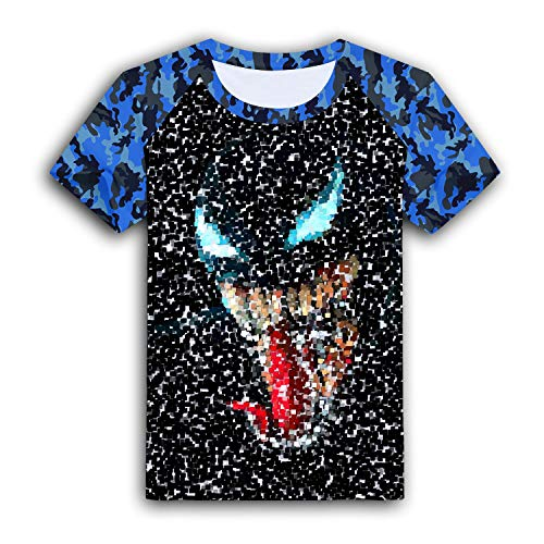 Child Boys Girls Tongue-Monster Artwork Minimal Dark Background T-Shirts Camouflage Short Sleeve Crew Neck Tee Shirt Tops Blue L