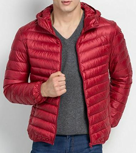 L Jackets red Coat EKU Hodded Lightweight Mens Oversize Down wine ZnqqwOY0xg