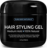 Hair Gel for Men Medium Hold - Large 4oz - Great Styling Gel for Short, Long, Thin and Curly Hair - Great for Modern, Messy, Wet and Dapper Styles by Pure Body Naturals