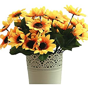 JAROWN Artificial Sunflowers Silk Yellow flowers for Home Office Kitchen Decoration,Pack of 2 96