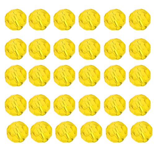 (Mystart 200 Pieces Faceted Crystal Glass Beads Bracelets Necklaces Loose Beads Door Curtain Beads (Golden Yellow))