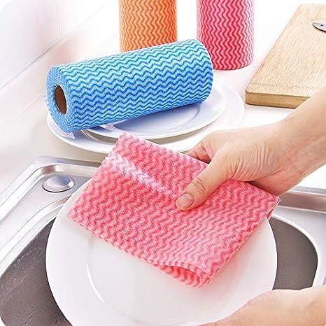 KEKEDA Toalla de Limpieza desechable, Toallas de Papel Paño de Limpieza Antiadherente para Cocina, no Tejido, de usos múltiples, 25 Hojas/Rollo (Verde): ...