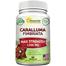 100% Pure Caralluma Fimbriata 1200mg - 180 Capsules, Natural Extract Weight Loss Diet Pill Supplements, Best Natural Plant Root Appetite Suppressant & Energy Booster, Max Strength Slim Lean Fat Burn!