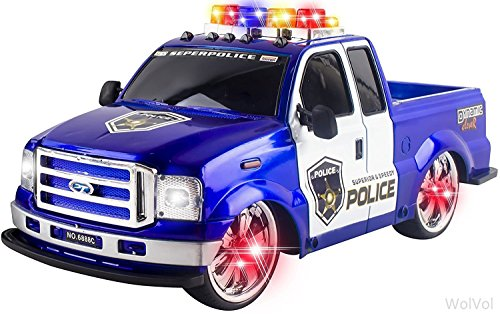 WolVol Remote Control Police Pickup Truck Toy for Kids, Loaded with Flashing Lights and Sounds (All batteries included) (Pick Up Truck For Kids)