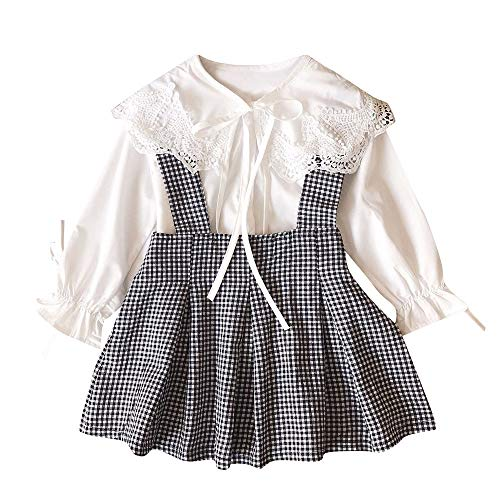 FEITONG Toddler Kids Baby Girls Lace T Shirt Tops+Plaid Skirt Outfits 2pcs Clothes Set(4-5T,White) ()
