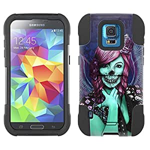 Samsung Galaxy S5 Sport Hybrid Case Groupie Skull 2 Piece Style Silicone Case Cover with Stand for Samsung Galaxy S5 Sport