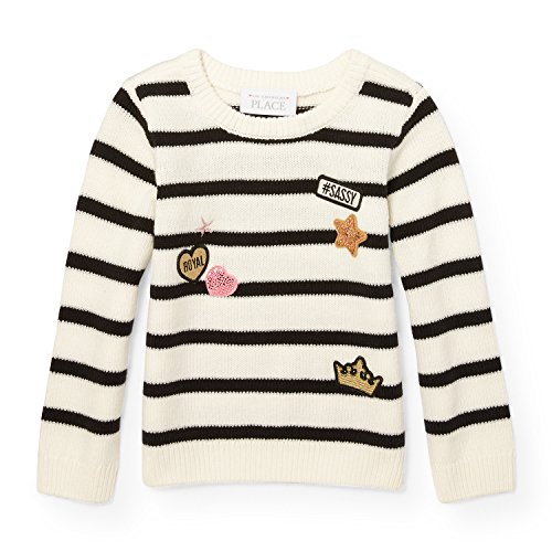 Metallic Stripe Sweater - The Children's Place Baby Little Girls' Sweater, Snow 91664, 3T