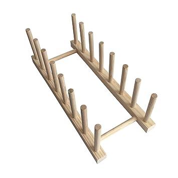 OUNONA Plato de madera Estante de madera Soporte de la exhibición Sostenedor de la placa Secador Escurridor de almacenamiento Marco de fotos Stander Titular ...