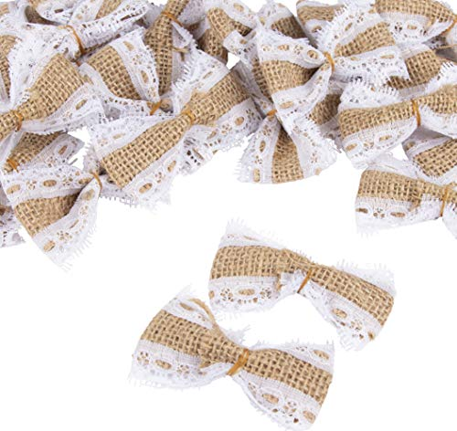 Burlap Bow Set - 24-Piece Lace Burlap Bow, Jute Bowknot, Bow Embellishments, Hessian Bows for Home, Weddings, Indoor Outdoor Decoration, Scrapbooking, DIY, Craft, Brown, 2.75 x 1.62 x 0.5 Inches