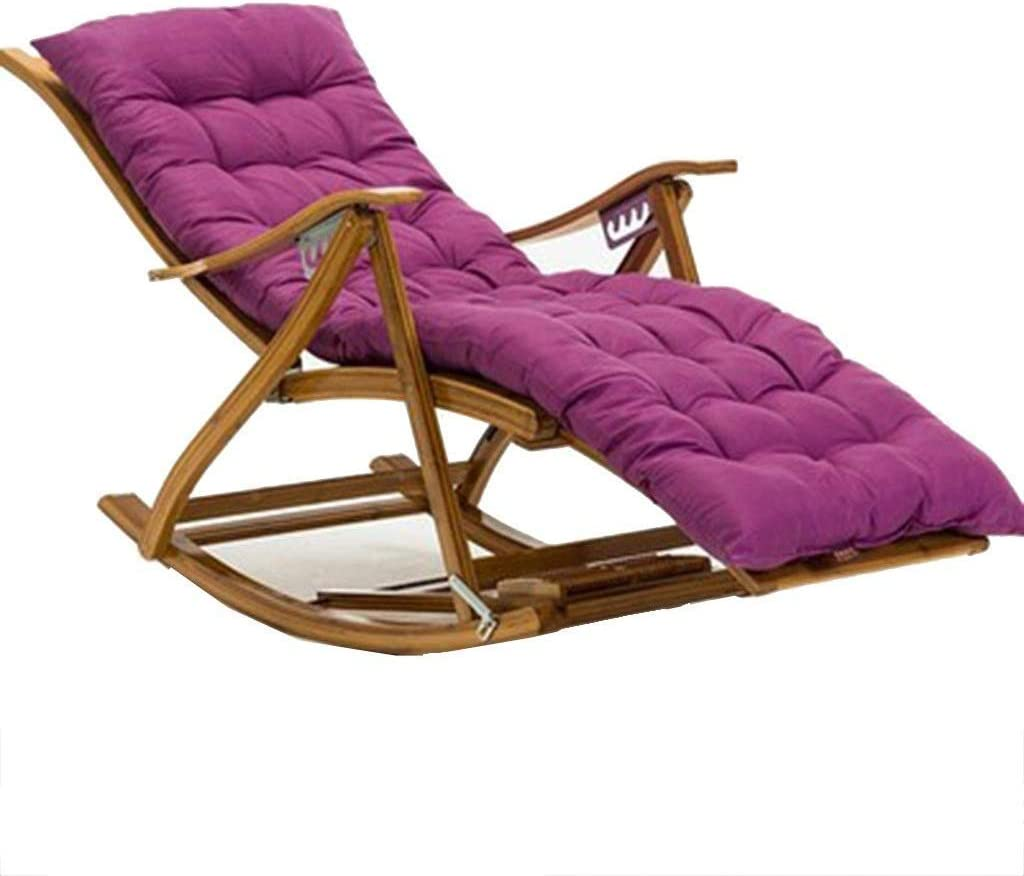 HTL Comfortable and Stable Camping Chairs Garden Loungers Folding Chair Bamboo Folding Rocking Chair Recliner, 6-Speed Adjustable Chair, Bedroom Living Room Sun Lounger,Wood+Brown Cotton Pad