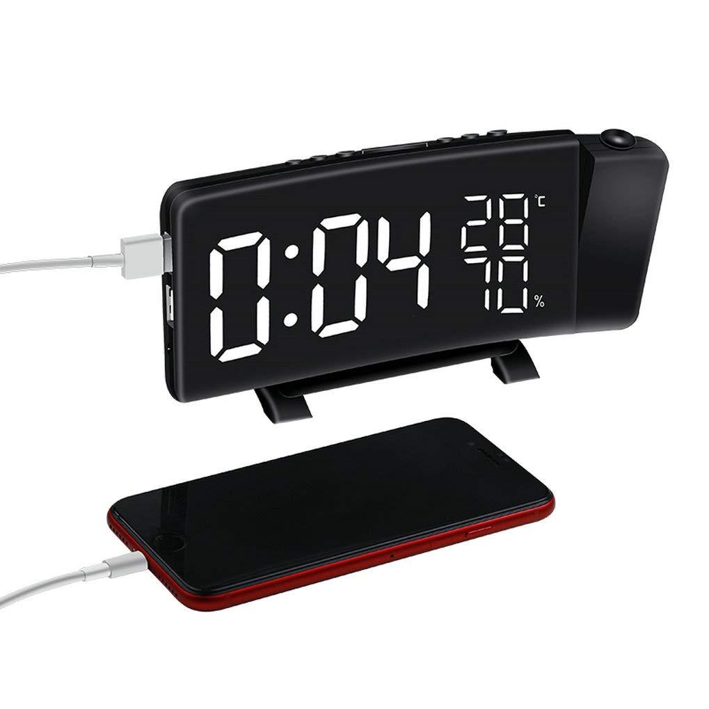 GuDoQi Radio R/éveil /À Projection Projection Horloge Alarme Num/érique FM R/éveil Digital avec Alarme Dual Temp/érature Hygrom/ètre Port USB Fonction Snooze 12//24H