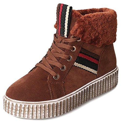 Zapatos de redonda de tacón para Western invierno Casual HSXZ botas Confort PU botas puntera Cowboy botas marrón planas Calf mujer Black negra Mid q5dxZg