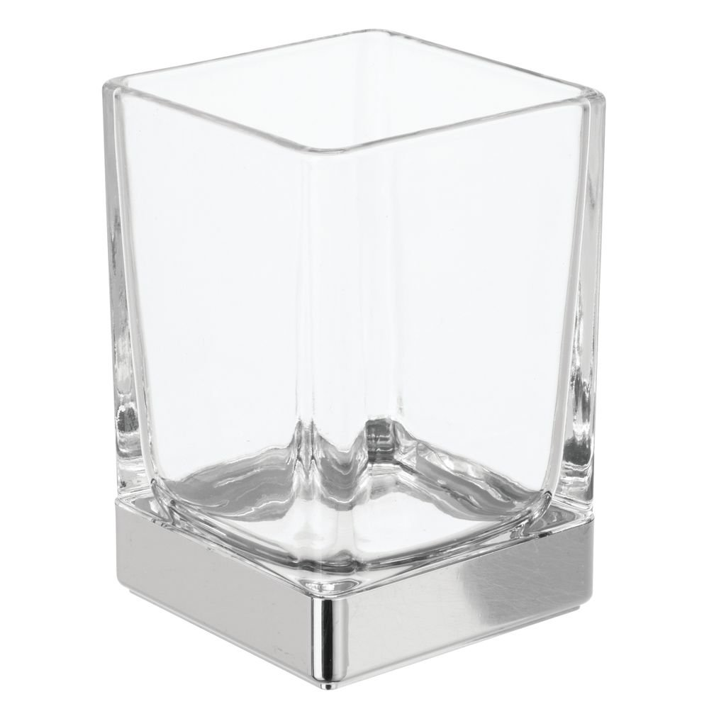 iDesign InterDesign Glass Tumbler Cup for Bathroom Vanity Countertops Casilla Clear/Chrome by iDesign