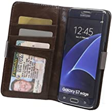 RFID Wallet Samsung Galaxy S7 Phone Cases - Protective Wallets - Best RFID Blocking Wallet (S7 Edge Light Brown)