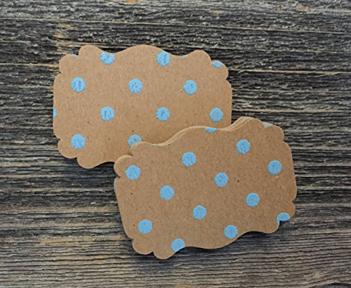 Kraft Blue Polka Dot Rustic Scalloped Edge Favor Tags Wedding Thank You Natural Baby Gift Tags (Tags Dot Polka)