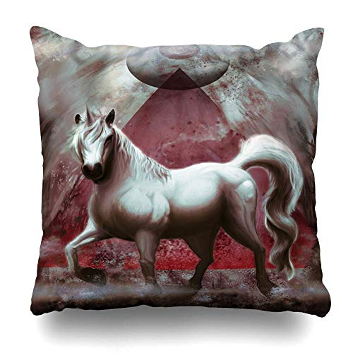 Mesllings Throw Pillow Cover Arabian Unicorn Pyramid Eye Forest Painting Horse Nature Watercolor Oil Color Original Design Tattoo Decorative Pillowcase Square Size 16