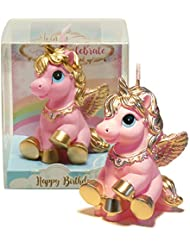 TBJSM Super Cute Gold Fly Unicorn Cake Cupcake Topper Birthday Gifts Wish Candle Wedding Party Decorations