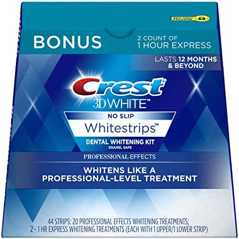 Crest 3D White Professional Effects Whitestrips Dental Teeth Whitening Strips Kit, 20 Treatments + BONUS 1 Hour Express Whitening Strips, 2 Treatments - (PACKAGING MAY VARY)