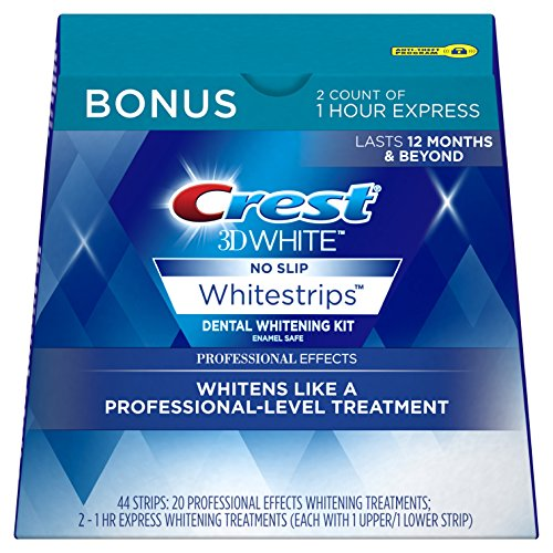 Crest 3D White Professional Effects Whitestrips Dental Teeth Whitening Strips Kit, 20 Treatments + BONUS 1 Hour Express Whitening Strips, 2 Treatments – (PACKAGING MAY VARY)