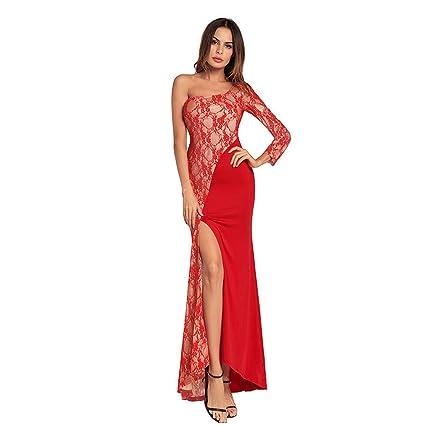 cbf273c94f Vestido de dama Vestidos de mujer divididos hombro oblicuo encaje vestido  largo sexy dama de honor ...