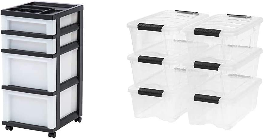 IRIS USA, Inc. MC-322-TOP 4-Drawer Storage Cart with Organizer Top, Pearl & TB-42 12 Quart Stack & Pull Box, Clear, 6 Stack and pull