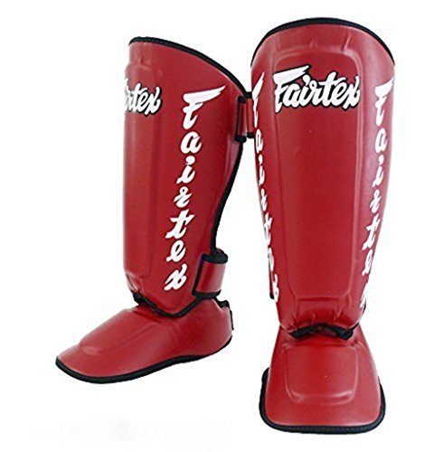 FAIRTEX TWISTER SHIN GUARDS - SP7 - RED - DETACHABLE (LARGE)