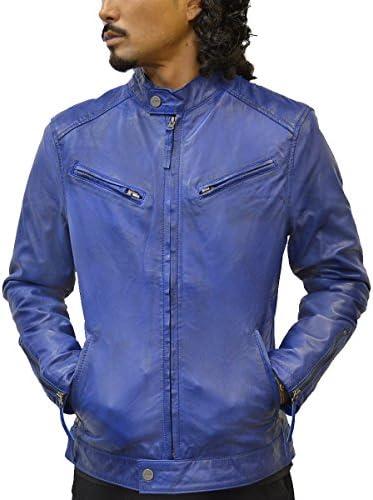レザージャケット メンズ ブルー 青 本革 シングル ライダース ラムレザー シンプル 革ジャン きれいめ レザーコート KP002BLU