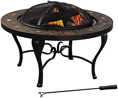 Sunjoy 35 Steel and Slate Wood Burning Fire Pit