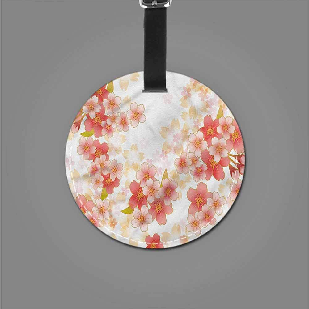 Round Luggage Tags Floral,Vibrant Spring Season Blooms Address Tags