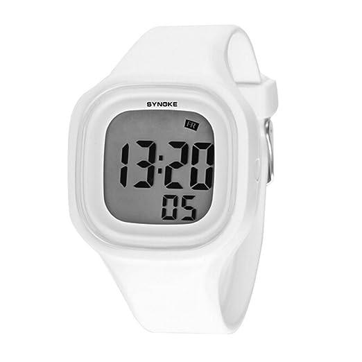 Niños Niñas Reloj de verano Jelly Display LED digital multifunción resistente al agua deporte relojes Blanco: Amazon.es: Relojes
