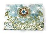 Punch Studio Brooch Peacock 10 Note Cards Gold Foil 66822