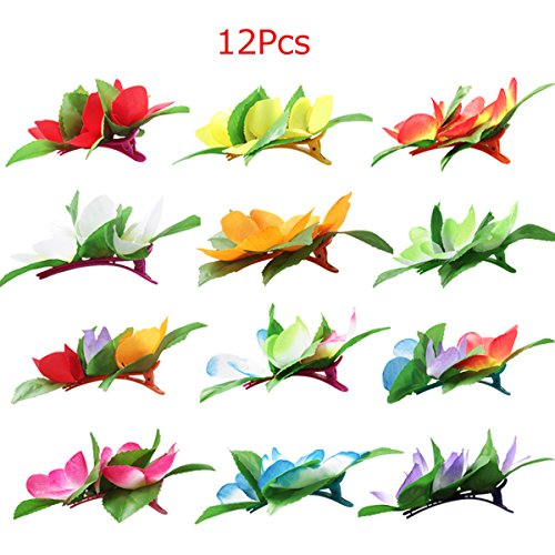 Fighting to Achieve 12Pcs Hawaiian Flowers Hair Clips for Tropical Beach Theme Party Costume Accessories ()