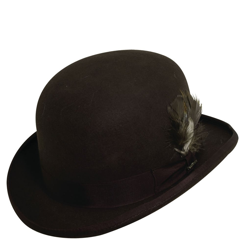 Scala Classico Men's Wool Felt Derby Hat BROWN L by Dorfman Pacific