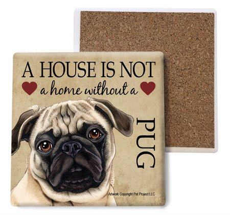 Pug (Brown/tan color) Absorbent Stone Coasters, Set of 4 (SJT24758) ()
