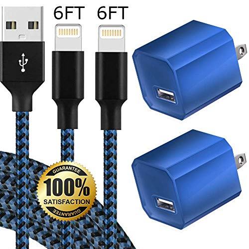 Boost Chargers 5W USB Power Adapter Wall Charger 1A Cube for Plug Outlet w/ 6FT/2M Nylon Braided Cable Sync & Charger Cord Compatible for iPhone8 / X / 7 / 6S / Plus + More Devices (Blue) 2 Pack