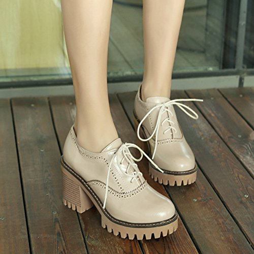 Oxfords Mofri Brogues Block Women's Round Platform up Stacked Beige Low Top Solid Toe Trendy High Shoes Color Lace Heels pwqRIw