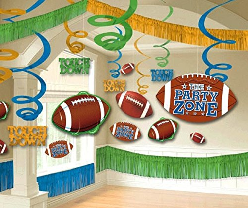 Amscan Football Giant Birthday Party Assorted Room Decorating Kit (22 Piece), Multi Color, 14.5 x 13.6 (Nfl Party Decorations)