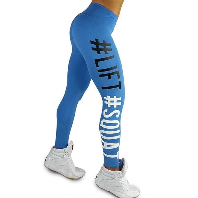 VPASS Mujer Pantalones,Elásticos Impresión de Letras Pantalones de Yoga Mujer Fitness Mallas Gym Yoga Slim Fit Pantalones Largos Pantalones Leggings ...