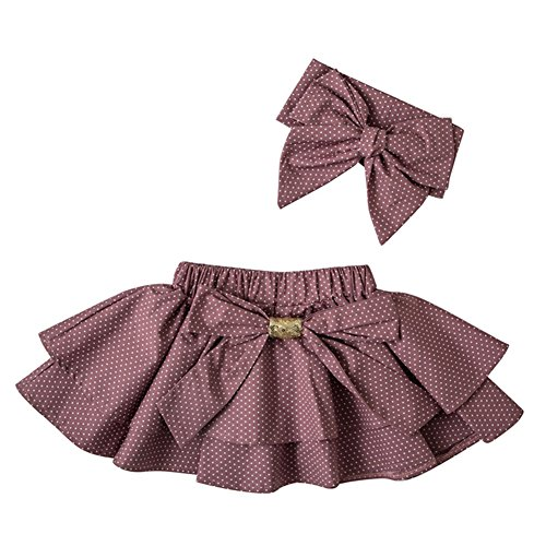 Merry Day Baby Girl Mini Tutu Skirt Baby Polka Dot Ruffle Bow Skirts with Headband Purple 1-2 (Purple Corduroy Skirt)