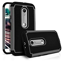 Moto G 3rd Gen Case, MagicMobile [Dual Armor Series] Hybrid Impact Resistant Shockproof Tough Cover Hard Plastic Rugged Rubber Silicone Protective Case for Motorola Moto G 3rd Gen (2015) - Black/Gray