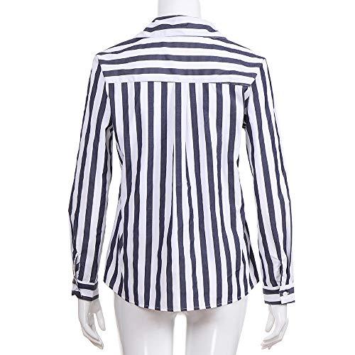 Femme Chemisier Automne Devant Col Innerternet Crois Bleu Muticouleur Manche Blouse Longue Rayue Fashion V EAawq6a7