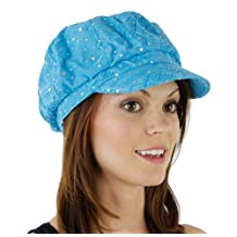 Glitter Sequin Newsboy Cap with Sparkle Flower (Turquoise with Flowers)