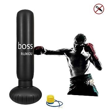 Ruxinggu Bolso De Perforación De Boxeo del Saco De Boxeo Libre, Saco De Boxeo Pesado Inflable del 155cm Soporte De La Blanco Que Perfora El ...