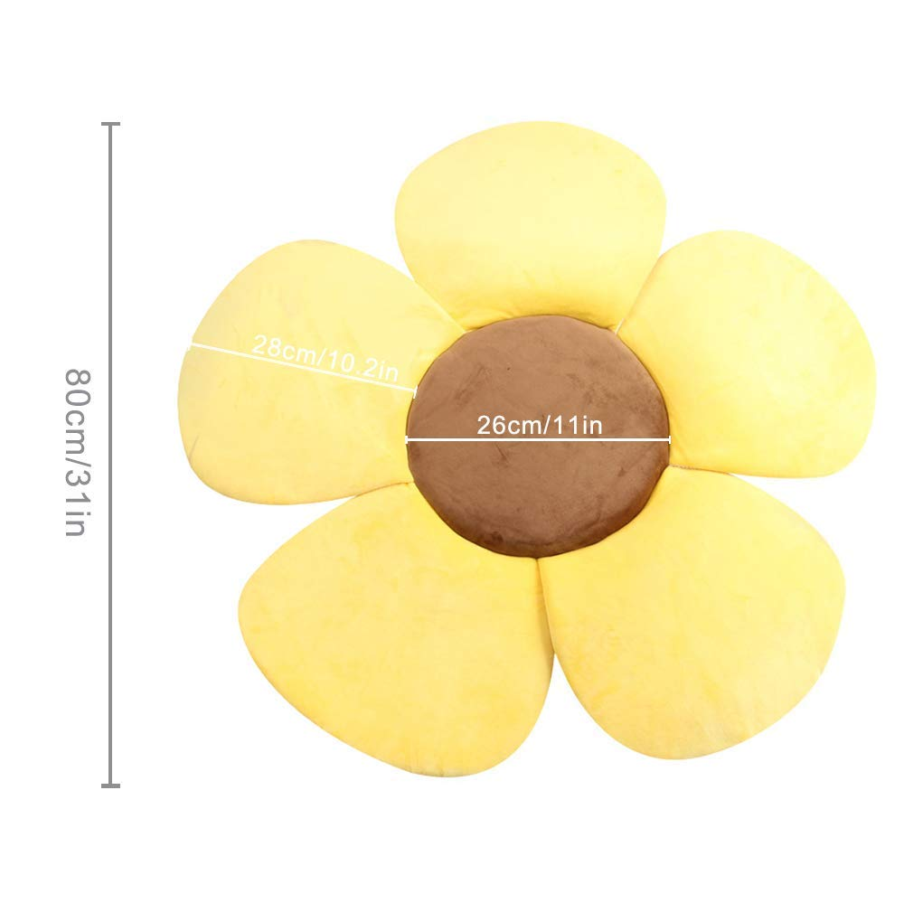 Baby Bath Cushion yellow Foldable Flower Petal Shape Bathtub Pad Quick Drying Non-Slip Safety Sink Insert Tub Mat for Infant Bathing Tub Seat Support