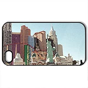 LAS VEGAS NEWYORK NEWYORK HOTEL - Case Cover for iPhone 4 and 4s (Amusement Parks Series, Watercolor style, Black) by icecream design