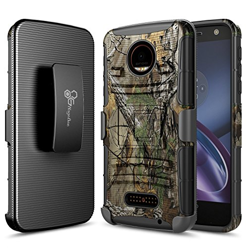 NageBee Belt Clip Holster Case Compatible with Motorola Moto Z Play Droid (2016) [Heavy Duty] Armor Shock Proof Dual Layer [Swivel Belt Clip] Holster with [Kickstand] Combo Rugged Case - Camouflage